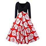 HHei_K Xmas Womens Sexy Low-Cut V Neck Drawstring Lace-up Santa Claus Printed Party A-Line Patchwork Swing Dress