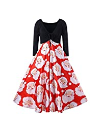 Pervobs Women Ribbons Santa Claus Print Long Sleeve High Waist Retro Party Dress