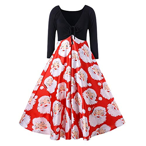 iYBUIA Fashion Women V-Neck Ribbons Merry Christmas Santa Claus Print Party Midi Dress