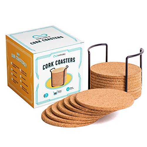 """Infiniko Natural Cork Coasters With Holder, 16pcs Absorbent Saucers Set, 1/5 Thick 4"""" Wide Round Edge Eco-Friendly Design, Reusable For Drinks Glasses Coffee Cups & Mugs"""