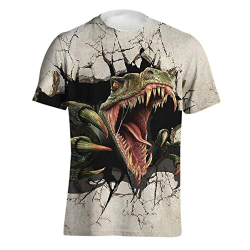HZYDDZSWLTD Men's Personality 3D Printed T-Shirt, Dinosaur, Printing Short Sleeve Fashion Tee