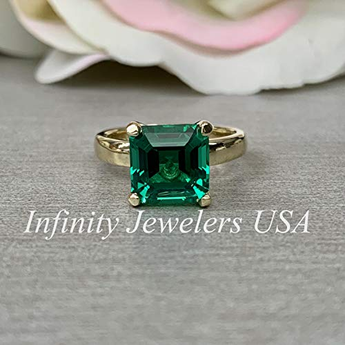 (Asscher Cut Engagement Solitaire/Green Emerald Wedding Solitaire/Ladies Ring/Proposal Ring/Dainty Jewelry / 14k Yellow Gold / #6192)
