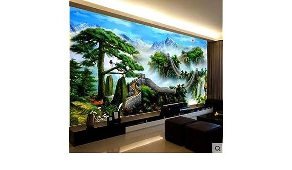AIGUFENG Producto terminado a mano cosido bienvenido invitado Song Wanli Great Wall living room pinturas de paisaje grande bordado bien,228 * 88cm: ...