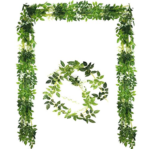 - Bird Fiy 36Ft / 5 Pcs Artificial Flower Hanging Vine Silk Wisteria Garland Hanging Rattan with Green Ivy Leaves for Wedding Garden Home Party Decoration