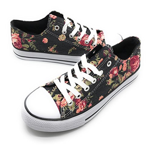 EASY21 Women Canvas Lace Up Shoe Fashion Casual Comfort Sneakers,Denim Flower,7