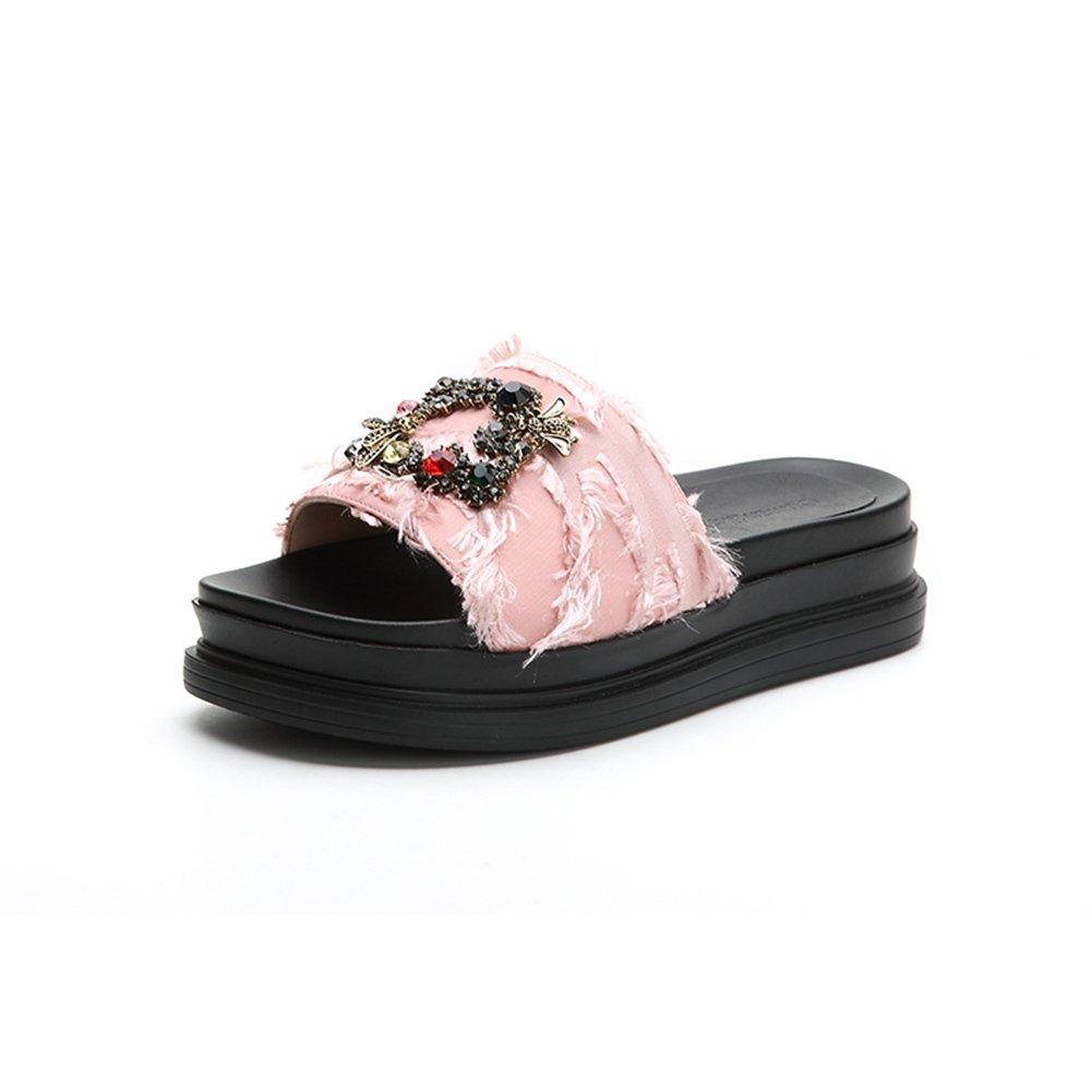 WYYY Rétro Chaussures pour Femmes Saison D été Bloc Bloc À Chaussures Faible Talon Rétro Bout Ouvert Décoration en Métal Fond Épais Talons Bas Chaussures Décontractées Party Sandals Plage Rose cc62bc0 - boatplans.space