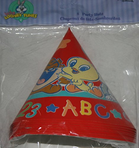 Baby Looney Tunes 123 * ABC Party Hats ~ 8 Paper Cone Hats (Tunes Looney Baby Bugs)