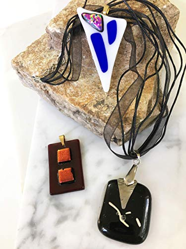 Pendant Necklace Set of 3 for Woman and Men Handmade Designer Black, White, Dark Brown with Dichroic Fused Glass Accents Great for Birthday Gift, Wedding Gift, Anniversary Gift or a Special Occasion