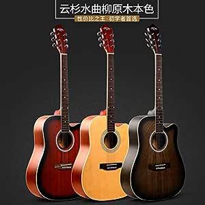 BZAHW botón Principiantes Guitarra acústica Cortada de acorde de la Guitarra 41 Pulgadas Cerrada (Color : HS-4111 BK, Size : 41 Inch): Amazon.es: Hogar