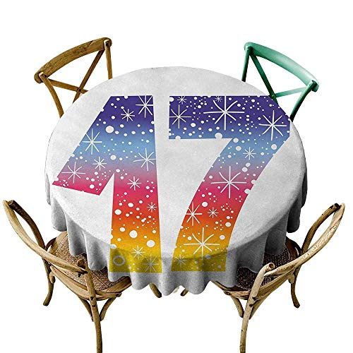 Wendell Joshua Premium Round Tablecloth 60 inch 17th Birthday,Rainbow Colored Seventeen Years Old Party with Fireworks Polka Dots Print,Multicolor Polyester Fabric Table Cloth -