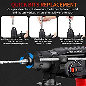 Rotary Hammer Drill, WAKYME 21V Li-lon 1/2 inch Cordless Demolition Hammer with 1400RPM, Variable Speed, 3-in-1 Mode Brushless Impact Drill with Safety Clutch, 13 Pieces Set, Drill Bits, Chisels
