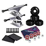 Cal 7 5.0 Inch Skateboard Trucks, 52mm Wheels, Plus Bearings Combo Set (Silver truck with black wheels)