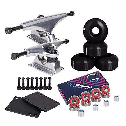 Cal 7 Skateboard Package Combo with 5 Inch / 129 Millimeter Trucks, 52mm 99A Wheels, Complete Set of Bearings and Steel Hardware (Silver Truck + Black Wheels)