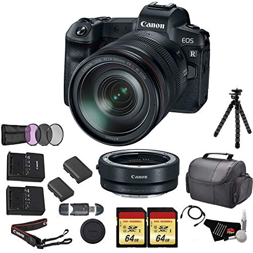 (Canon EOS R Mirrorless Digital Camera with 24-105mm Lens Bundle with Canon Mount Adapter + 2X 64GB Memory Cards + Replacement Lithium Ion Battery + UV Filter and More )