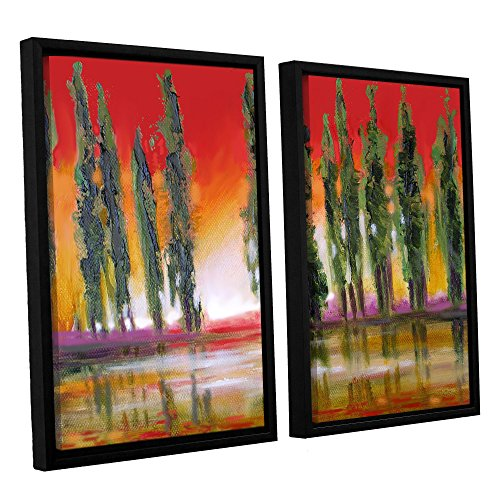 (ArtWall Susi Franco's Tuscan Cypress Sunset 2 Piece Floater Framed Canvas Set, 24 by 32