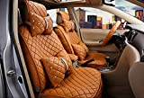 18pc superior quality luxury Champagne Seat Covers imitation leather Seating Universal Full Set car seat cover Easy to install Fit Most Car