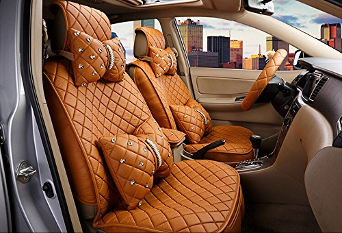 18pc superior quality luxury Champagne Seat Covers imitation leather Seating Universal Full Set car seat cover Easy to install Fit Most Car by Maimai88 (Image #4)
