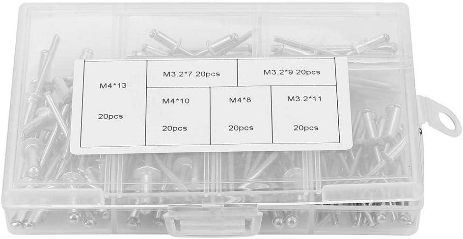M3.2//M-4 Kit dassortiment de fixations de rivets aveugles en aluminium avec bo/îte 120pcs//set