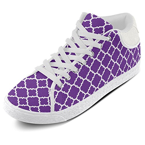Artsadd Royal Purple Hvit Quatrefoil Klassisk Mønster Chukka Canvas Sko For Kvinner (model003)