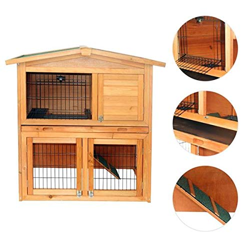 Wooden Rabbit Cage Indoor & Outdoor A-Frame Durable Pet Cage Triangle Roof Waterproof Wooden Pet Cage Wood Small House for Rabbits, Chickens, Ducks & Other Small Pets, Natural Wood Color