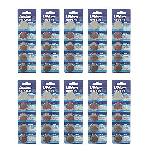 Button Cr2450 - 50 Pack 3V High Capacity Lithium Button Coin Cell Batteries CR2450 ECR2450 Used in Most Electronic Devices