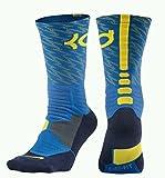 Nike Men's Hyper Elite KD Basketball Crew Socks Medium (Size 6-8) Blue, Yellow