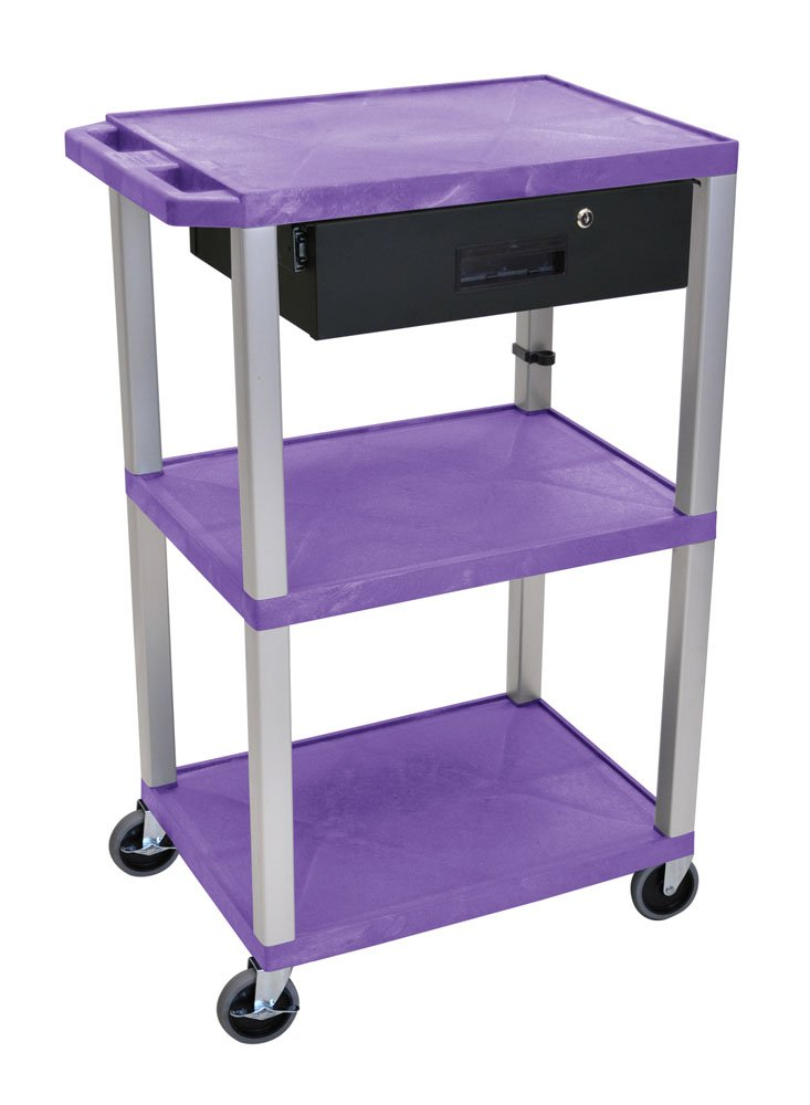Offex 42''H Multipurpose Electric A/V Cart with 3 Shelves and Drawer, Nickel Leg - Purple