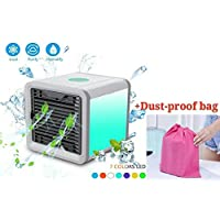 Air Cooler, Arctic Air, Personal Space Cooler, Portable Mini Cooler, Personal Space Cooler, Third Gear Speed Chill Room, Office Cooler humidifier & purifier by up to 5-8 Degrees,1.2m Cooling Area, 7 Adjustable LED Lights Color(White) (White)