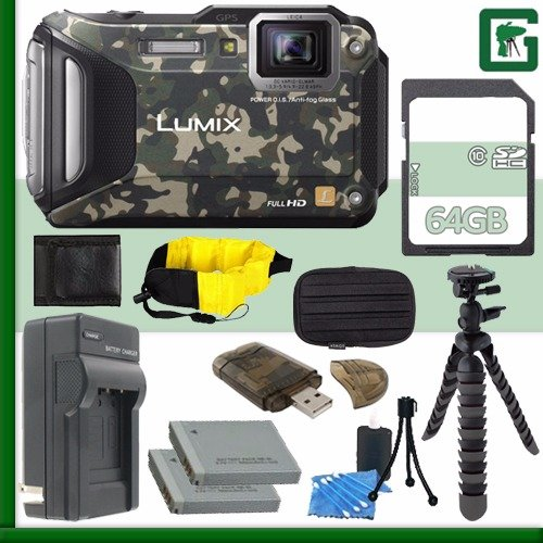 Panasonic Lumix DMC-TS6A Digital Camera (Camouflage) + 64GB Green's Camera Bundle
