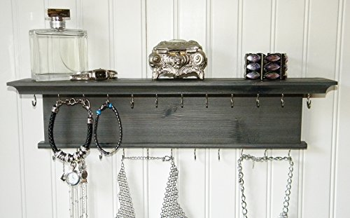Jewelry Organizer Necklace Holder Wall Mounted Modern Rustic Wood Gray Wall Shelf