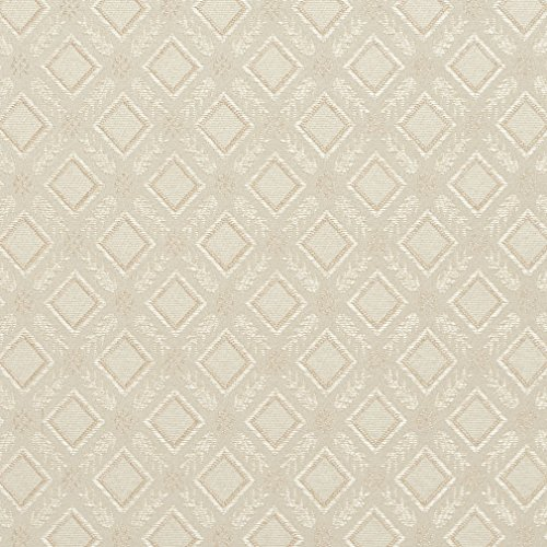 (Ivory White Dimond Trellis Leafs Accent Damask Upholstery Fabric by the yard)