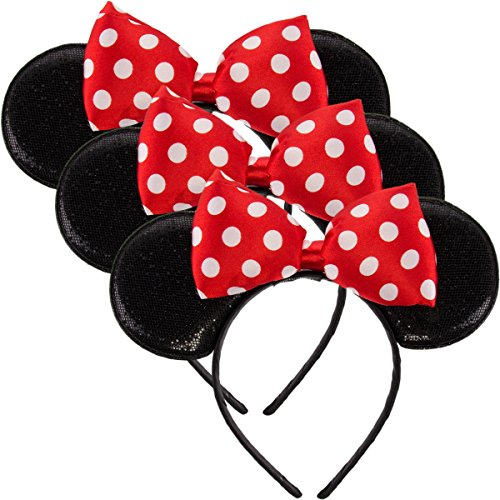 Disney Junior (3 Pack) Licensed Disney Minnie Mouse Headbands Cute Sparkle Ears Bow Costume (Cute Minnie Mouse Costume)