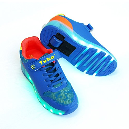 Tuko Rechargeable LED Skate Roller Shoes for Boy Gift,Rechargeable Light Roller Skate Shoes With Wheels Flashing Sneakers (1M) ()