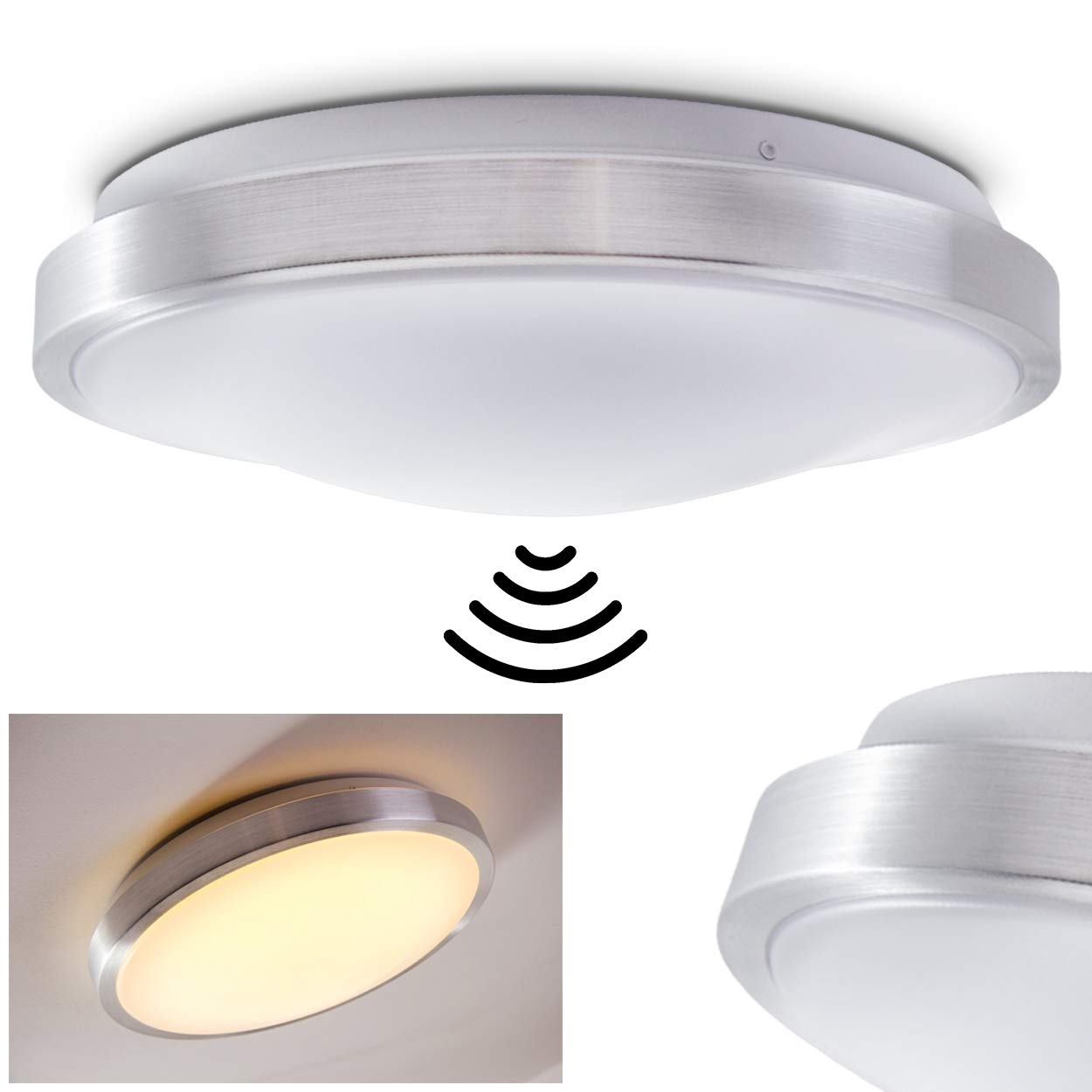Wutach LED Ceiling Light with Motion Sensor 1 x 18 W, 1380 Lumen, 3000 Kelvin, suitable for Bathroom hofstein H166476