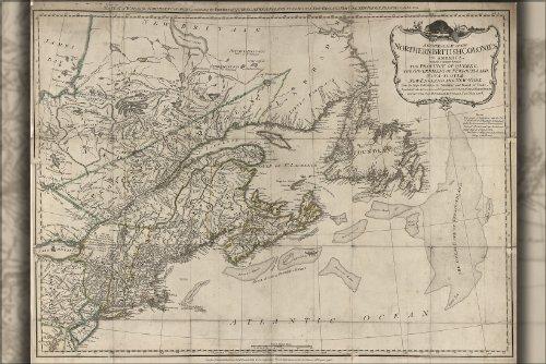 Poster Map Of New England Massachusetts Maine 1776 Antique Reprint