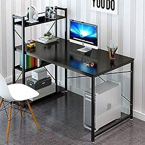 "Tower Computer Desk with 4 Tier Shelves – 47.6"" Multi Level Writing Study Table with Bookshelves Modern Steel Frame Wood Desk Multipurpose Home Office Workstation"