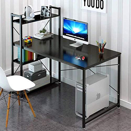 Tower Computer Desk with 4 Tier Shelves - 47.6'' Multi Level Writing Study Table with Bookshelves Modern Steel Frame Wood Desk Compact Home Office Workstation (Black) Corner Computer Desk Tower
