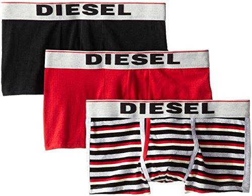 - Diesel Men's 3-Pack Semaji Cotton Stretch Trunk, Red Stripe/Red/Black, Small