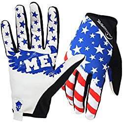 Rigwari Bicycles Mountain Bikes Motocross American Flag Pattern Design Gloves Mountaineering - Hiking and Other Outdoor Sports use Unisex (White, XL)