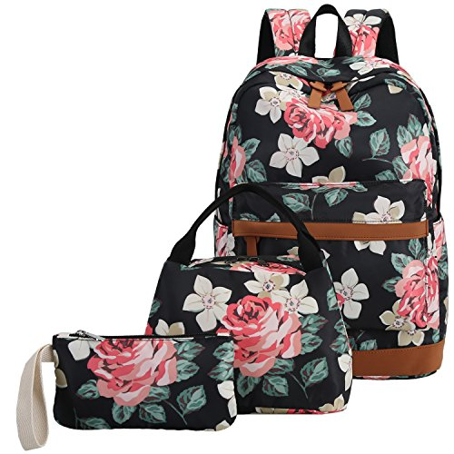 Price comparison product image School Backpack Teen Girls Bookbag Kids School Bag Set With Lunch Box (Black)