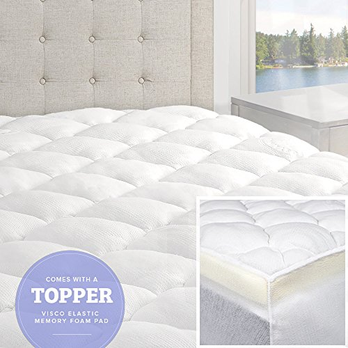 eLuxurySupply Bamboo Mattress Pad with Fitted Skirt - Double Thick Extra Plush...