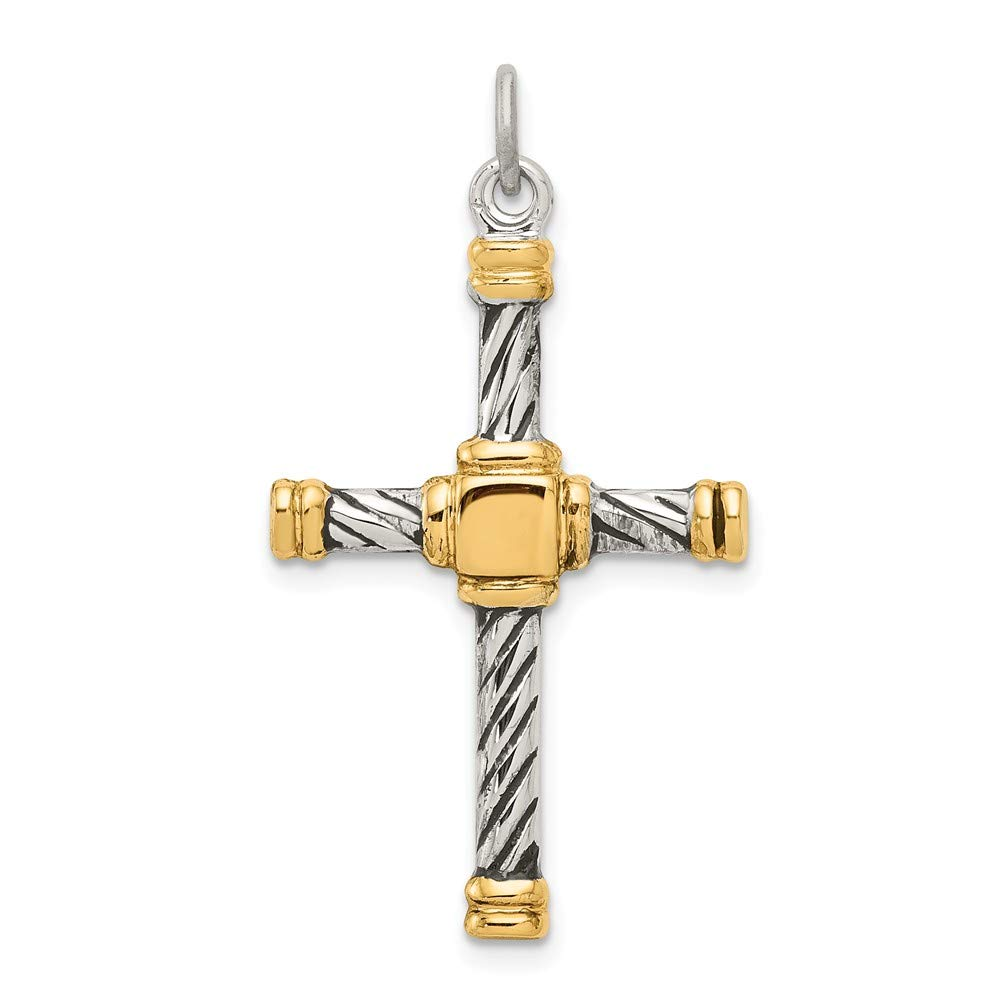 FB Jewels Solid 925 Sterling Silver Antiqued and 18K Gold Plated Cro925 Sterling Silver Pendant