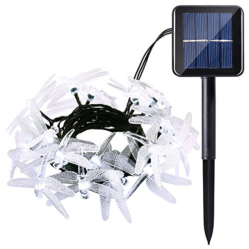 Icicle Solar String Lights, 16ft 20 LED 8 Modes Dragonfly Shaped Waterproof Decorative Fairy Lights for Indoor/Outdoor, Garden, Patio, Fence, Lawn, Bush, Balcony, Party, Holiday Decorations (White)