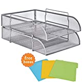 2 Trays Printer - 2 Tier Paper Letter Tray Stackable Heightened Desktop File Document Organizer Metal Mesh Collection Office Desk Accessories with 3Pcs File Folders,Vertical Silver