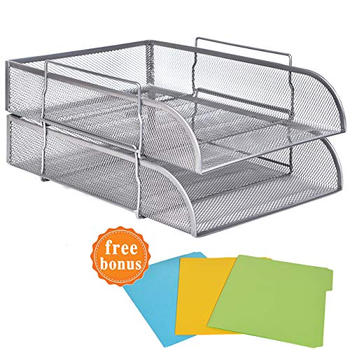 2 Tier Paper Letter Tray Desk Organizer with Bottom Support Frame Stackable Desktop File Document Organizer Metal Mesh Collection Office Desk Accessories with 3Pcs File Folders,Vertical Silver