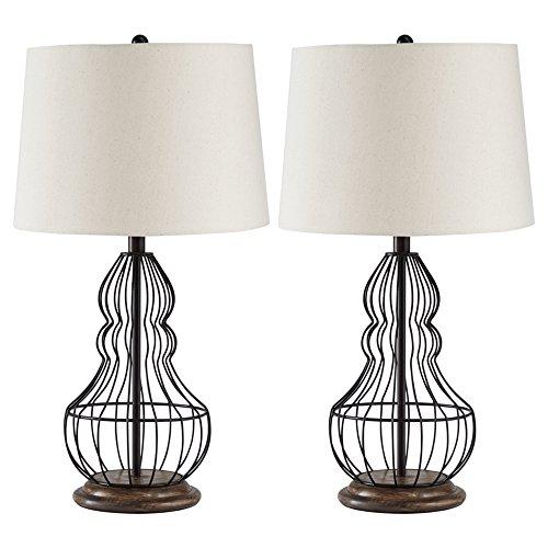 Ashley Furniture Signature Design - Maconaque Metal Table Lamps - Set of 2 - Cage Design - Black