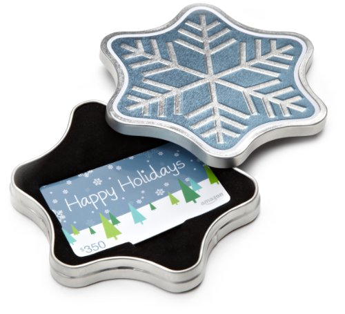 Amazon.com $350 Gift Card in a Snowflake Tin (Happy Holidays Card Design) (Itunes Gift Card By Email)