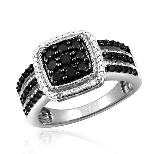 Jewelexcess 1.00 Carat T.W. Black and White Diamond Square Sterling Silver Ring