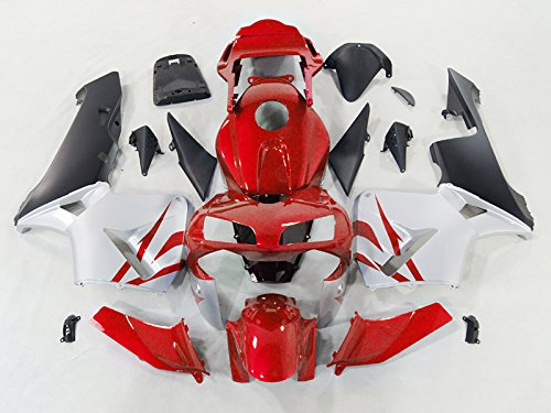 Moto Onfire ABS Injection Fairing Plastic Kits Fit Honda CBR 600 RR 600RR 2003-2004(Red/black, Full Boltkits Included)