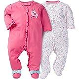 Gerber Baby Girls' 2 Pack Zip Front Sleep 'n Play,Birdie,0-3 Months